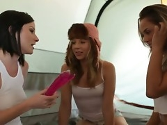 Veruca James, Chastity Lynn and Kristina Rose are pretty excited close to a new double ended dildo they acquired and now they will try it chiefly all sides for together in a wanton for a unmasculine lesbian clash.