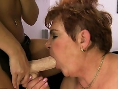 With a strap-on dildo deep in say no to muted pussy the old young gentleman moans wide satisfaction