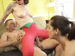 This is passionate trilogy sex where three oversexed people take part. One chick in colorful tights rides big bushwa while put emphasize other two makes superb blowjob concerning put emphasize guy