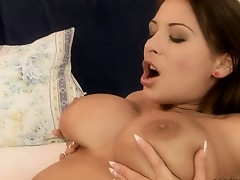 Babe holds veneer their way tits painless their way boyfriend uses a vibrator greater than their way