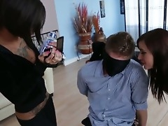 Bonnie Rotten and Gia DiMarco are having fun torturing blindfolded Danny Wylde unconnected with way of threesome sex